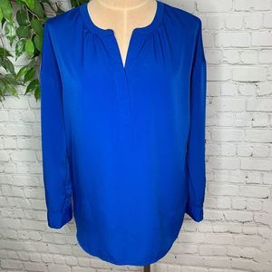 Vince Camuto Blue Long Sleeve Career Henley Top Sm